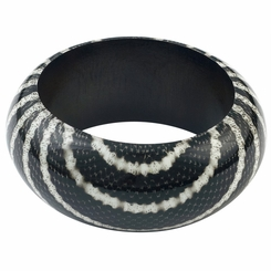 Abstract Snake Print Wooden Bangle in Black