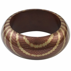 Abstract Snake Print Wooden Bangle in Brown
