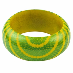 Abstract Snake Print Wooden Bangle in Green