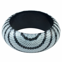 Abstract Snake Print Wooden Bangle in White