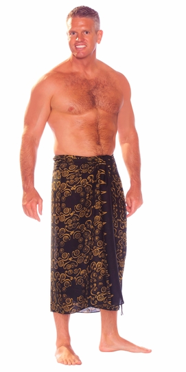 Abstract Spiral Circle Design Mens Sarong in Brown and Black