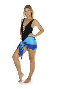 Abstract Tiki Half Sarong in Blues