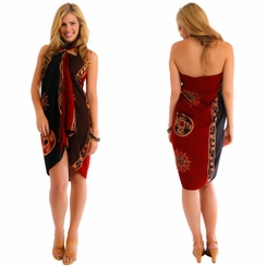 Abstract Tiki Sarong in Black/Brown/Burgundy