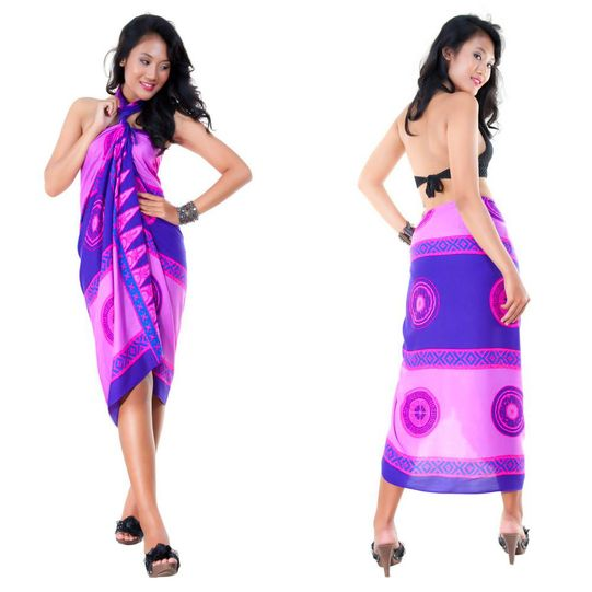 Abstract Tiki Sarong in Purple/Pink - Fringeless Sarong - Final Sale - No Returns