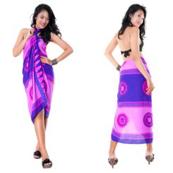 Abstract Tiki Sarong in Purple/Pink - Fringeless Sarong