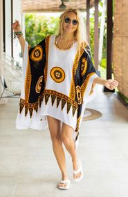 Abstract Tiki Black/White Poncho Coverup with V-Neck