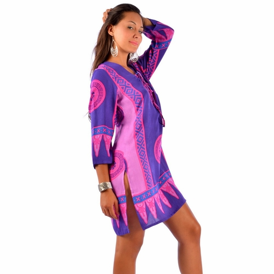 Abstract Tiki Tunic Cover-Up in Pink/Puple - Final Sale - No Returns