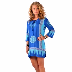Abstract Tiki Tunic Cover-Up in Turquoise/Blues - Final Sale - No Returns