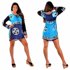 Abstract Tiki Tunic Dress Beach Cover Up in Black and Blue