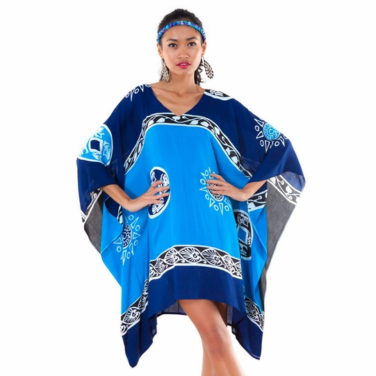 Abstract Tiki Poncho Cover-Up with V-Neck in Navy Blues/Turquoise