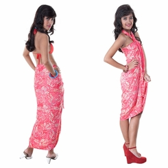 Abstract  Top Quality Sarong in Hot Pink/Gold