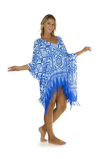 Abstract Tribal Fringed Poncho Light Blue