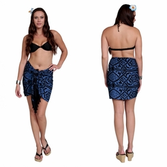 "Abstract Tribal Half Sarong ""Blueish"""