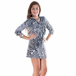 Animal Print Black / White Tunic Cover-Up with V-Neck and 3/4 Sleeves - Final Sale - No Returns