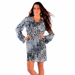 Animal Print Tunic Cover Up in Black/White