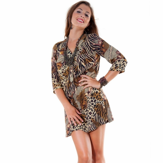 Animal Print Tunic Cover Up with V-Neck and 3/4 Sleeves - Final Sale - No Returns