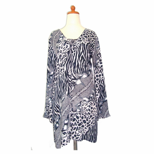 Animal Print Tunic Dress Beach Cover Up in Black and White