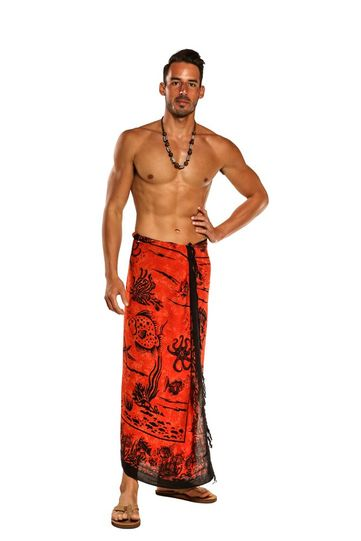 Aquatic Life Mens Sarong in Orange