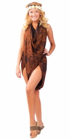 Aquatic Life Sarong Brown
