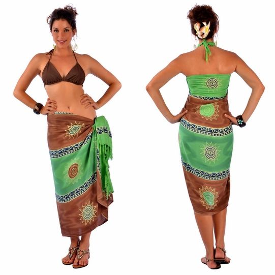 Baliku Sarong in Green And Brown