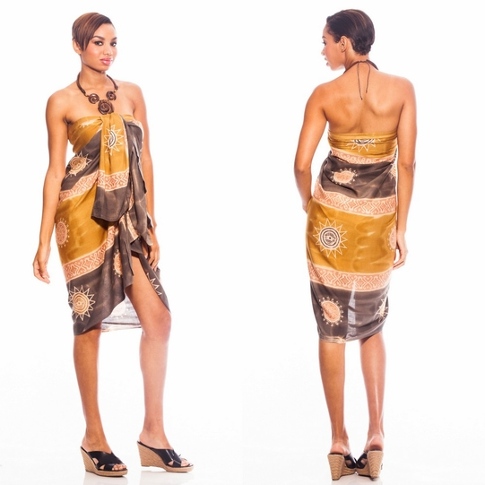 Baliku Sarong in Yellow And Grey Fringeless