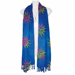 Batik Abstract Sun Design Double Wide Scarf, Wrap or Shawl - in your choice of colors