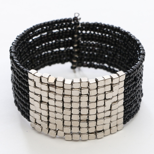Beaded Bangle Bracelet in Black