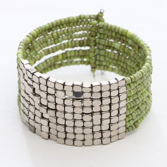 Beaded Bangle Bracelet in Green