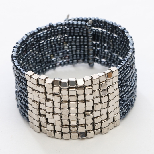 Beaded Bangle Bracelet in Grey