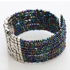 Beaded Bangle Bracelet in Metallic