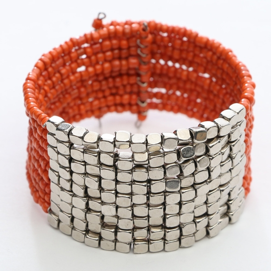 Beaded Bangle Bracelet in Orange