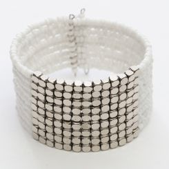 Beaded Bangle Bracelet in White