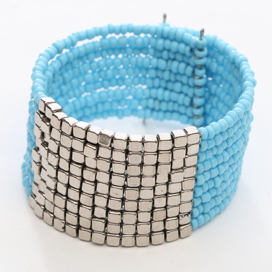 Beaded Bangle Bracelet Turquoise