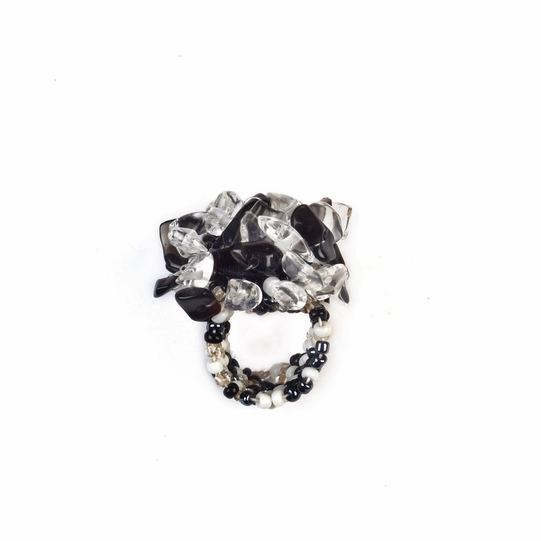 Beaded Ring in Black and White