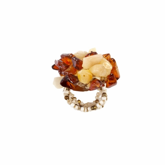 Beaded Ring in Browns