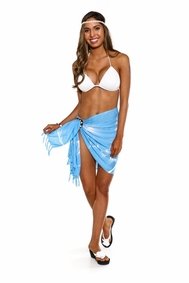Big Hibiscus Floral Half Sarong in Light Blue - Final Sale - No Returns