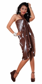 Big Hibiscus Floral Sarong in Brown