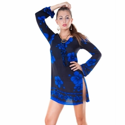 Black and Blue Hibiscus Floral Tunic Cover Up