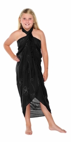 Black Embroidered Girls Sarong - Final Sale - No Returns