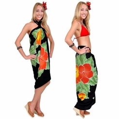 Black Hand Painted Hibiscus Sarong
