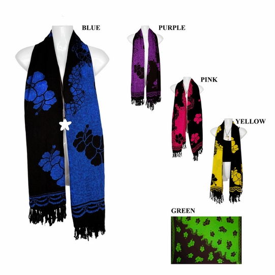 Black Hibiscus Floral Design Extra Wide Neck Scarf, Wrap or Shawl - in your choice of colors