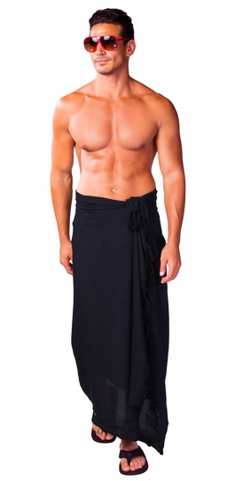 Solid Black Mens Sarong