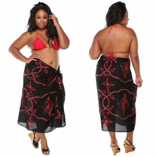 Black Sarong w/ Red Embroidery