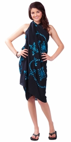 Black Sarong w/ Turquoise Embroidery