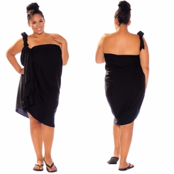 Black Top Quality Sarong PLUS SIZE - Fringeless Sarong