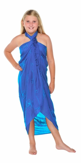Blue Embroidered Girls Sarong