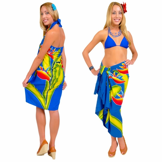 Blue Hand Painted Bird of Paradise Top Quality Sarong - Fringeless Sarong