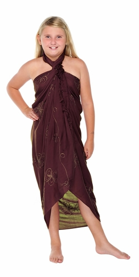 Brown Embroidered Girls Sarong