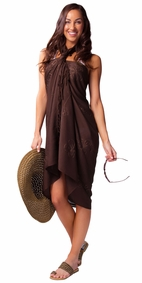 Brown Embroidered Sarong - Final Sale - No Returns
