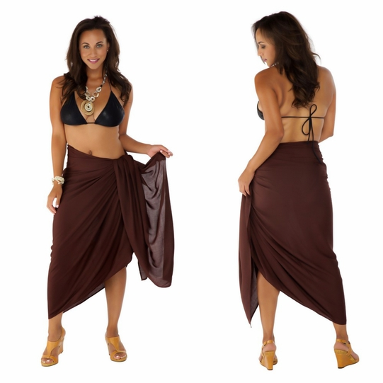 """Brown"" Solid Sarong PLUS SIZE"